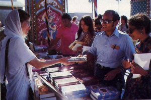 Inside the festival grounds guests visit the book booth