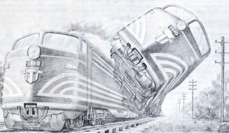 Fig. I. In quantum mechanics, uncertainty on the atomic level can become amplified to produce a situation in which a train is simultaneously derailed and not derailed!
