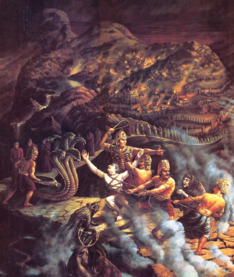 """They bound King Puranjana like an animal to take him away and forced the serpent and the King's followers to go with them"""