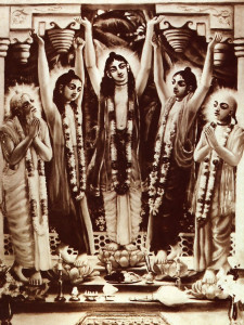 The founder of the Hare Krsna movement, Sri Caitanya (in center), surrounded by principal associates. Sri Caitanya popularized the chanting and singing of the holy names of the Lord.