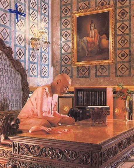"Srila Prabhupada, depicted in his study. ""The idea,"" says Srila Bhaktipada, ""is to preserve the memory of Srila Prabhupada in his most important activity of translating the Vedic literatures."""