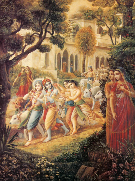 "When Krsna went walking, the damsels thought, ""The soles of His feet are so soft. He must be hurting Himself."""