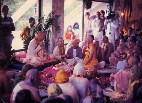 Festivities in New South Wiles. Devotees and friends dedicate a marble-walled temple and celebrate the initiation of thirty-one students. The scene: New Govardhana, a one-thousand-acre fanning community.