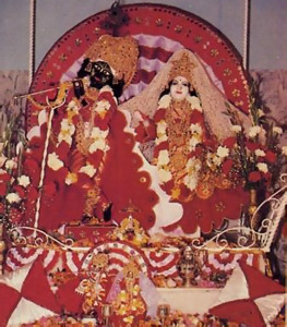 The Divine Couple, Radha and Krsna, look on at the Ashram's opening.