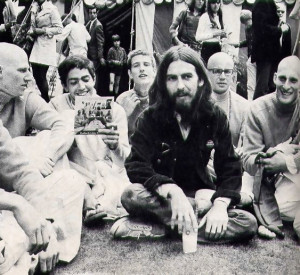 Appreciation for the Krsna culture takes many forms. George Harrison meditates on the Hare Krsna mantra.