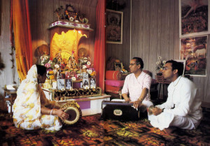 At home. Ksirodakasayi dasa and family perform the same traditional early morning services seen in Krsna conscious temples