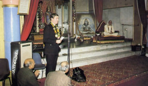 The Chief of Police of Harrow offers words of praise at the opening of the ISKCON Youth Club, Harrow branch.