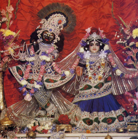 All-attractive Lord Sri Krsna, the Supreme Personality of Godhead. and Srimati Radharani. His eternal consort. reveal Their beauty at ISKCON's Melbourne temple.
