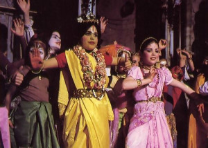 BaJa publications serve as scripts for plays in Krsna conscious schools. At left, children enact the pastimes of Sita and Rama from the epic Ramayana.