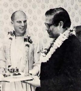 Ambassador Rajaryal receives · Bhagavad-gita. As It Is from Srila Bhagavan Gosvami