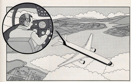 Fig. 10. The embodied living being, or atma, is like a pilot flying an airplane on instruments. Just as reading an instrument panel can afford the pilot only a limited picture of his surroundings, gathering information with the material senses affords the atma only a limited picture of reality.