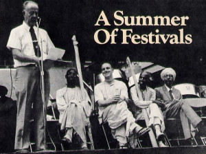 In Baltimore, Mayor William Schaefer lauded ISKCON's cultural exhibition at the city's recent East/West Indies Festival. Seated from left to right are His Holiness Bhakti-tirtha Swami, director of ISKCON's Urban Spiritual Development project and regional secretary for east and west Africa; Mahakrama dasa, director of ISKCON's Baltimore center; His Holiness Lokanatha Swami, director of ISKCON's New Delhi center; and Mr. Gurbaksh Singh, Educational Advisor to the Indian Embassy.