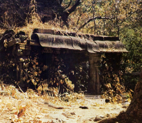 The temple cave of Varaha-Nrsimba juts out from the mountain leading to Ahovalam. Local priests say the Deities in these solid-stone temples were installed thousands of years ago.