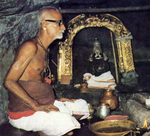 The village brahmana makes a two-hour climb daily to worship Lord Nrsimhadeva, who in this cavernous temple appears in a blackish form of stone.