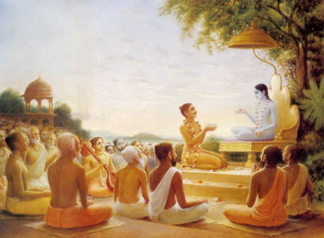 Srimad Bhagavatam being spoken by Sukadeva Gosvami to Maharaja Pariksit.