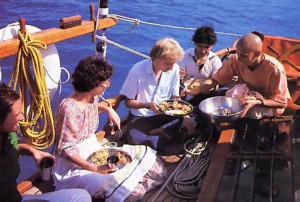 Once in port, the devotees treat guests to a vegetarian feast