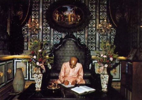 In the study itself guests sec a molded form of Srila Prabhupada posed at his work of translating the Sanskrit Vedic scriptures into English