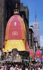 Lord Jagannatha lends the procession down Fifth Avenue in a chariot whose spire seems to rival the Empire State Building's.