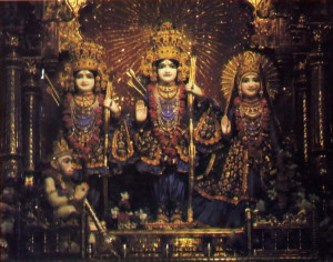 Deity forms of Lord Ra macandra (center) and Srimati Sita-devi (to His left) grace the altar at Bhaktivedanta Manor, near London. Other Deities are Rama's brother Lak~mal)a and Hanuman (kneeling)