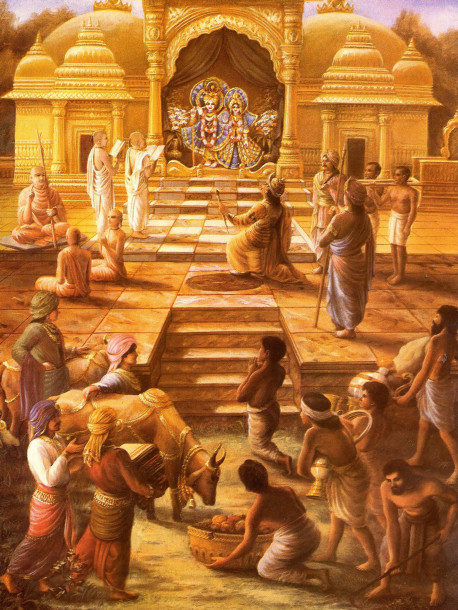 The perfect socio-religious system is explained by Lord Krsna in Bhagavad-gita. (This system differs from the prejudicial system of caste by birth.) In Bhagavad-gita the Lord defines four natural classes in society according to their qualities and work . They arc the brahmanas (priests and intellectuals), the ksatriyas (political leaders and military men), the vaisyas (farmers and merchants), and the sudras (manual laborers). It is only when the members of all these classes worship the Lord with the fruits of their work that social harmony, material prosperity, and spiritual felicity are assured.