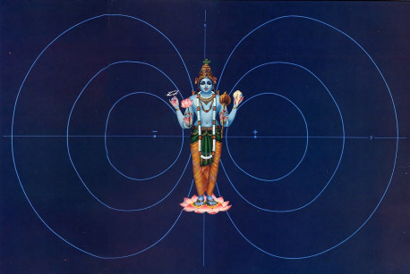 Two distinctly different visions of reality come together in this illustration. The dual elliptical patterns depict one of the energy states of a hydrogen atom, as conceived according to quantum physics, a mechanistic system that describes matter in terms of numbers. But according to the nonmechanistic science set forth in the Vedic literature, at the 'heart of every atom is Lord Visnu, the Supreme Personality of Godhead. the creator and sustainer of all. Since He is beyond measurement. He can't be understood merely through numerical descriptions.