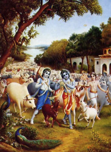 A painting depicts Krsna's pastimes in His village of Vrndavana