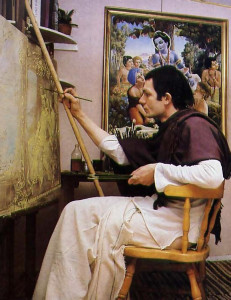 An artist works in the Hare Krsna movement's studios near Florence