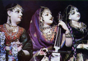 Devotees record songs about Krsna in a LosAngeles studio