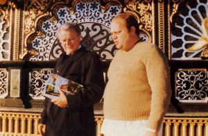U.S. Senator Robert C. Byrd, books and BACK TO GODHEAD in hand, tours Prabhupada's Palace of Gold with Mahabuddhi dasa, the general manager for the Palace.