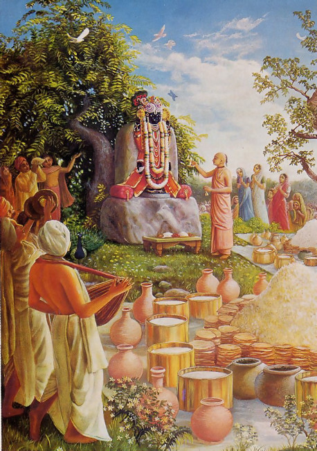 An offering of thousands of buttered chapatis (the unleavened breads piled beside the mounds of rice) is part of the traditional Vedic ceremony of worship called anakuta. More than five centuries ago in Vrndavana, India, the exalted saint Madhavendra Puri (in saffron robes) performed this ceremony for a newly installed Deity of Lord Krsna.