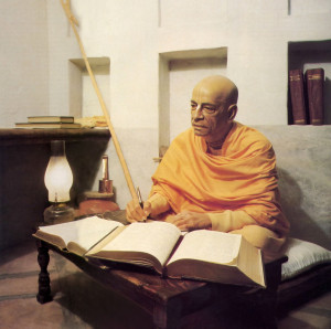 In Vrndavana, India, in the early 1960's, Srila Prabhupada wrote in his small room at the medieval Radha-Damodara temple. (Diorama: FATE museum, Los Angeles.)