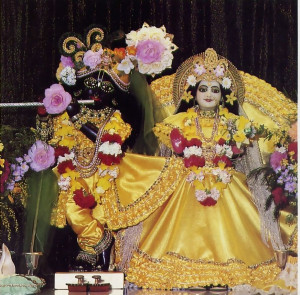 "Radha-Giridhari (Radha means ""She who worships Krsna best,"" and Giridhari is a name for Krsna that means ""He who lifted Govardhana Hill."""