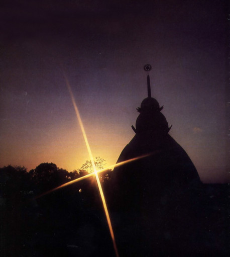 Setting sun highlights dome of new Hare Krsna temple in Londonville