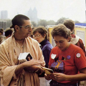At the rally in New York, a demonstrator finds out what the Vedic sages say we ought to do to find peace.