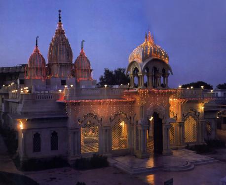 The Krsna-Balarama Temple at dusk