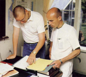 Headmaster Bala Krsna dasa (on right) reviews curriculum with Bhava dasa, one of teachers at the Vancouver school