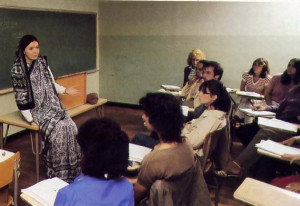 A religion class at Rutgers University in Camden , New Jersey, hears from Sitarani about Krsna.