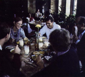 Amidst the marble and carved wood columns in the Cultural Center's dining room, the director of the FATE project, Adi-deva dasa (center), enjoys dinner with his wife and co-worker, Siladitya and his parents and brother