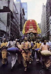 The chanting of Hare Krsna ushers Krsna's chariot up the Americas in New York City