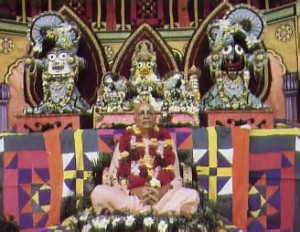 At the festival in New York, a statue of Srna Prabhupada sits at the feet of Lord Jagannatha (right) and His expansions-His brother, Balarama (left), and His sister, Subhadra (center).