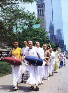 Devotees follow the lead of temple president Visvakarma dasa (beating the blue drum) as they chant Hare Krsna in downtown Toronto