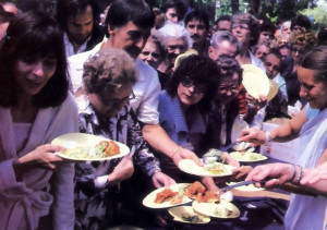 Devotees dish out plate after plate of prasadam (sanctified food) to eager celebrants at a festival in Montreal