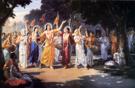 Hearts filled with love for Krsna, Lord Sri Caitanya Mahaprabhu and His followers spread the chanting of the Hare Krsna mantra through the towns and villages of West Bengal, India, some five hundred years ago. A chant that's formed of holy names of God, the mantra invokes the presence of God Himself through transcendental sound. According to Vedic scriptures, Lord Krsna Himself came to this world as Lord Caitanya to teach this chanting as the sublime way to revive our dormant love for God. And now, people all over the world are chanting Hare Krsna.