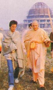 George and Srila Jayapataka Swami Acaryapada tour the site of Srila Prabhupada's memorial at the Hare Krsna center in Mayapur.