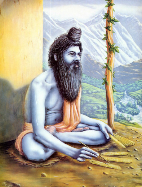 The literary incarnation or God , Srila Vyasadeva, writes the Srimad-Bhagavatam in his Himalayan asrama.
