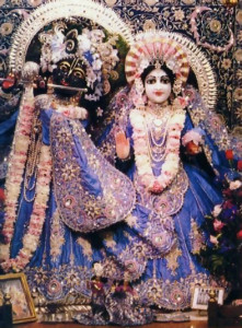 Radha and Krsna, Who Enjoy Pastimes in the Groves of Vrndavana.