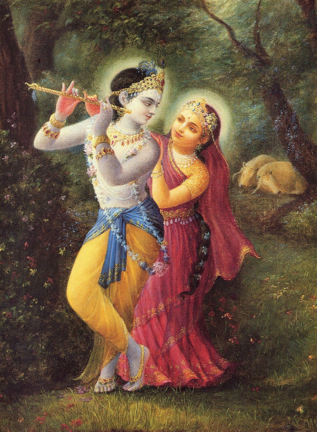 Without a tinge of material lust, Radha and Krsna, the Divine Couple, enjoy transcendental pastimes in the spiritual world. One who is attracted to Radha and Krsna will forget the pleasure derived from sex.