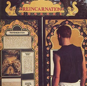An exhibit on reincarnation at the D.C. festival depicts the soul's evolution from one species to another.