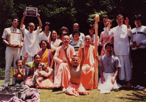 Srila Ramesvara Swami and Kavicandra Goswami (seated at center) with devotees and guests from the Tokyo ISKCON center.