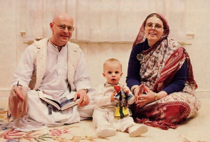 Acarya-devi dasi with her husband, Tulasi dasa, and their one-year-old son, Tulasyananda, at home at the Hare Hare Krsna center in Potomac, Maryland